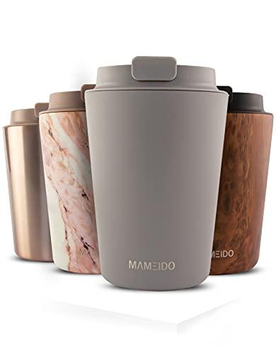 MAMEIDO Taza Térmica 350ml Taupe Grey - Termo Café en acero inoxidable sin BPA, Antigoteo - Vaso Termico Cafe y Té para llevar