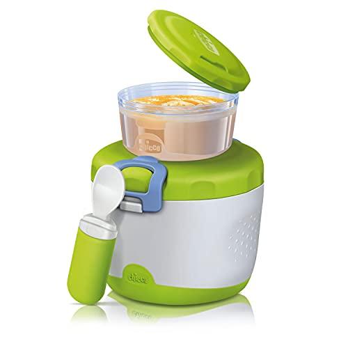 Chicco Easy Meal, Termo para la Papilla, Tupper Conjunto de Dos Recipientes para Comida y Cuchara para Potitos. Mantiene la Temperatura Hasta 6 Horas, sin BPA - 6+ Meses, Verde