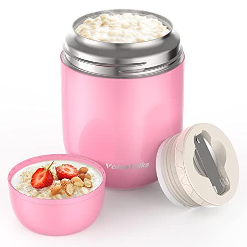 ValueTalks Termo para Alimentos 450ml Tarro de Comida Acero Inoxidable Aislado al Vacío Frasco con una Cuchara Plegable para Adultos Niños y Bebés(Rosa)
