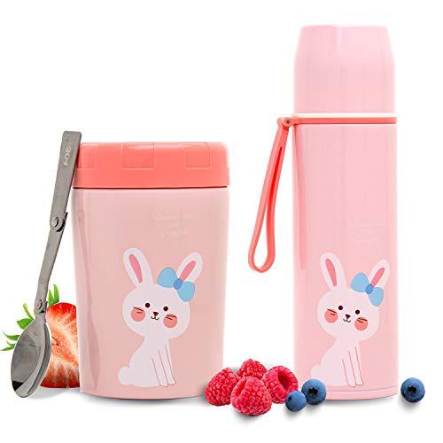 Balokki Termo 2-en-1: Termo Papillero para Niña + Botella Térmica • Doble Acero Inoxidable • Termo para Comida para alimentos y Botella termo para bebidas calientes/frías, diseño: Conejo